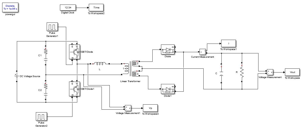 شبیه سازی مبدل نیم پل (Half Bridge Converter)