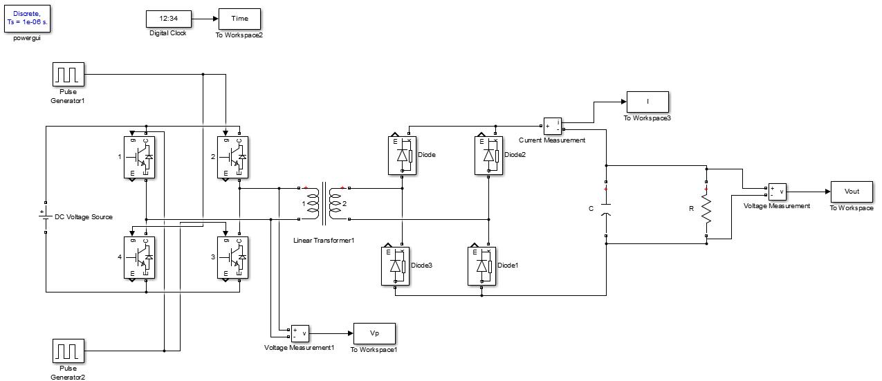 شبیه سازی مبدل تمام پل (Full Bridge Converter)