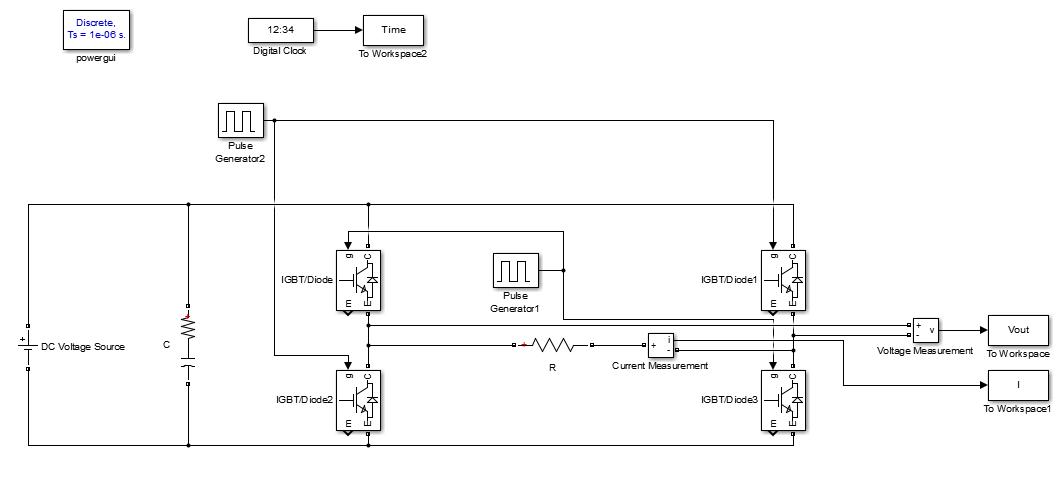شبیه سازی اینورتر تک فاز با کلید زنی موج مربعی